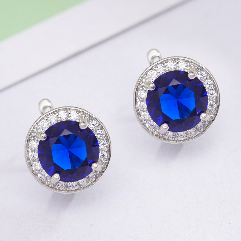 6 Colors Fashion Circle Earrings Round Cubic Zirconia Classic Hoop Earrings for Women OL Style Statement Earrings Wholesale 4