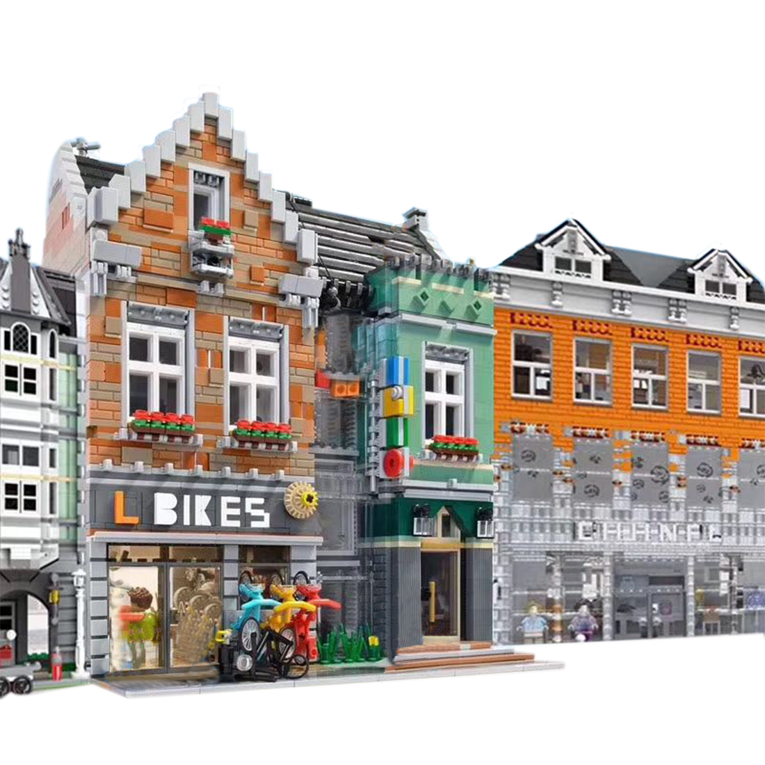 Moc City View DIY 3508+Pcs Small Particle Bicycle Shop Model Assembly Building Blocks Bike Store 10001 Stem Toy Gift Collection