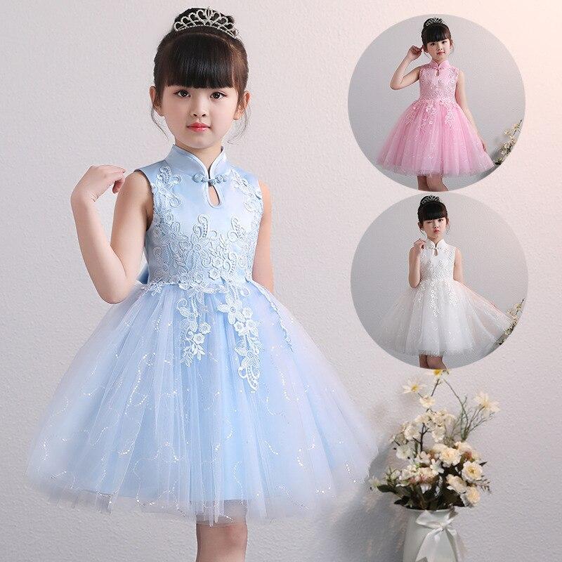 Children Flower Girl Dresses For Wedding Party Little Girl Formal Dresses Summer Birthday Party Gown Cute Skyblue Pink White New