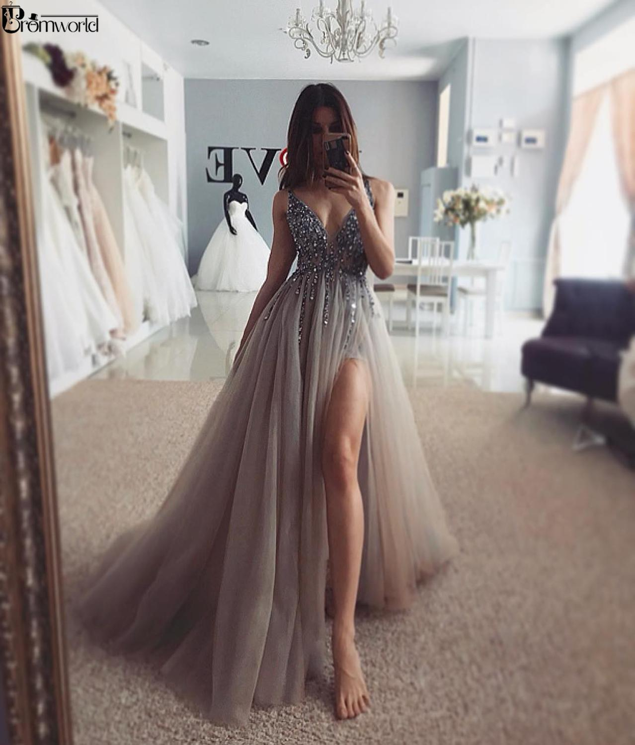 Sexy Dress Prom Long V-Neck High Slit Tulle Beaded Handmade Vestidos De Gala Crystal Formal Party Gown Gray Prom Dresses 2019