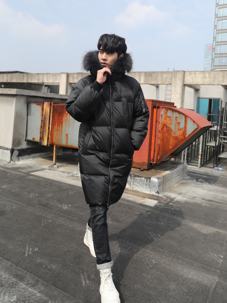Men's Winter Down Jacket Thick Warm Long Coat 90% Duck Down Jacket Men Raccoon Fur Collar Korean Puffer Parka 2020 J2640