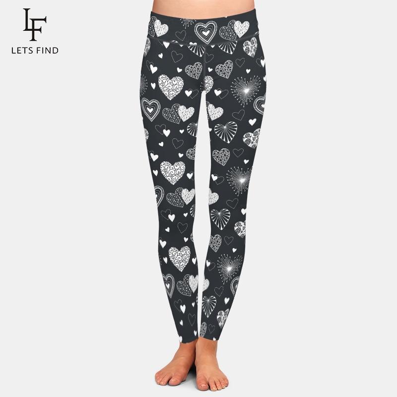 LETSFIND High Quaility Women Pants Fashion Cute Hearts Printing Fitness Leggings High Waist Plus Size Warm Leggings