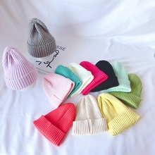 Cute Baby Hat 3-10T Toddler Boys Girls New Autumn Winter Warm Kids Baby Solid Print Hats Wool Hemming Caps #m