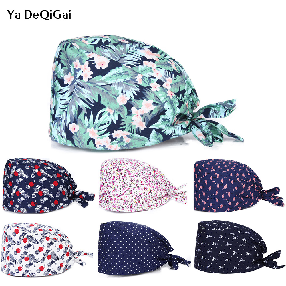 2020 New Sale Medical Caps Surgical Work Hats Women And Men Surgery Cap 100% Cotton A Elastic Strap Ties Hospital Working Hats
