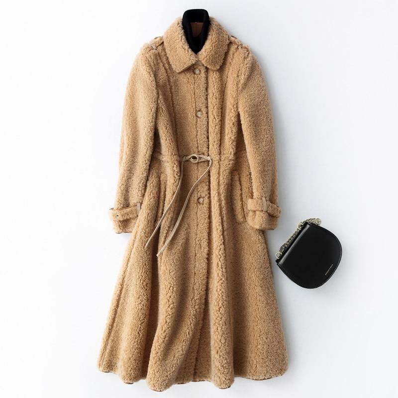 Sheep Real 2020 Shearling Fur Coat Winter Jacket Women Lamb Fur Korean Long Jackets For Women 100% Wool Coats MY4042 S S