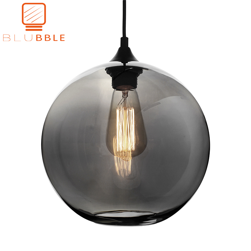 BLUBBLE Loft Hanging Lamp Glass Ball Hanging Lights Lamp Shades Translucent Gray Blackish Glass Lampshades
