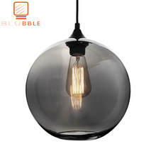 BLUBBLE Loft Hanging Lamp Glass Ball Hanging Lights Lamp Shades Translucent Gray Blackish Glass Lampshades(China)