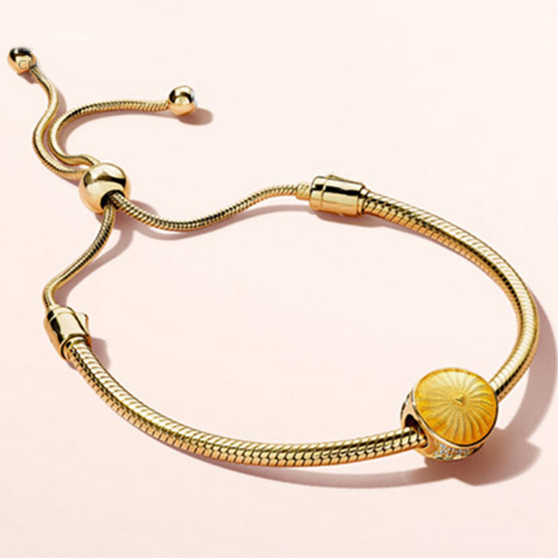 Nouveau 2018 nouveau 100% 925 en argent Sterling 18 or brillant scintillant Bracelet soleil perle Bracelets ensemble ajustement femmes bijoux