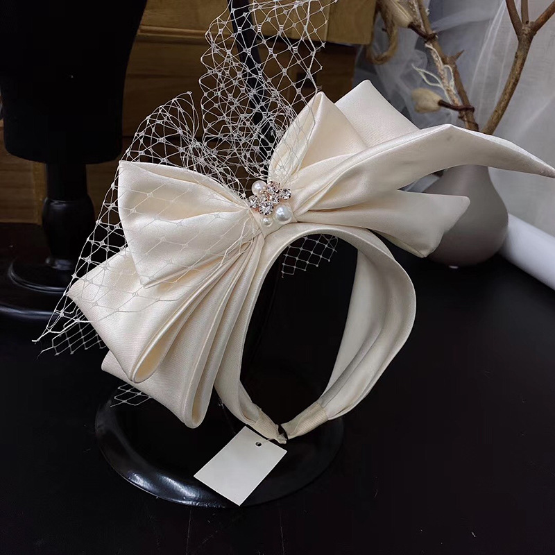 Vintage Champagne Mesh Bow Headband Bridal Headdress wedding hair Accessories