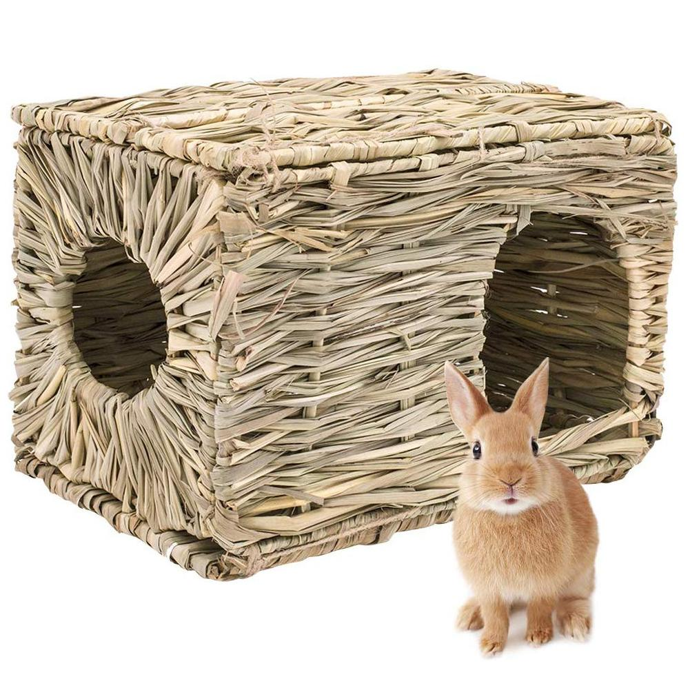 Foldable Woven Grass Pet Rabbit Hamster Guinea Pig Cage Nests House Chew Toy