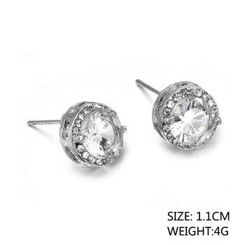 Fashion Women Girl White Rhinestone Crystal Round Metal Zircon Ear Stud Earrings Patry Earring Jewelry 1