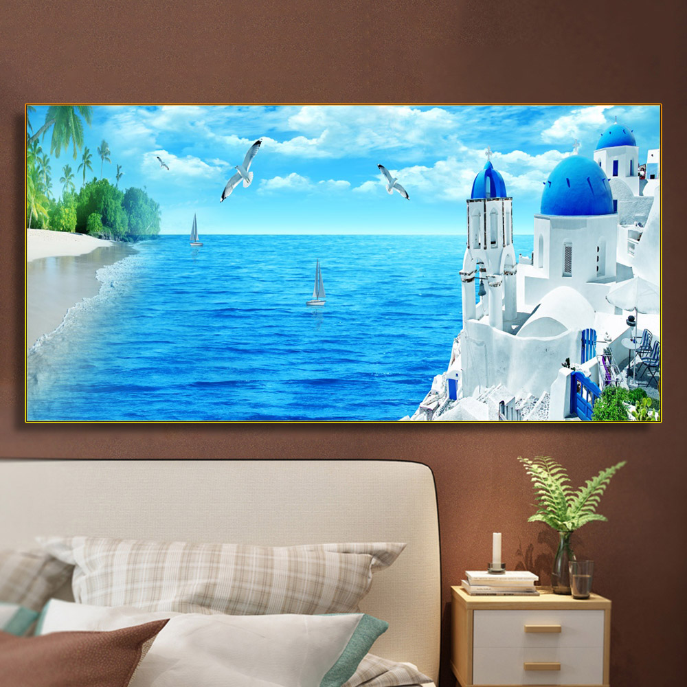 Nordic Waterfront Castle Canvas Painting Calligraphy Landscape Posters and Prints Wall Art Home Decor Scandinavia Art Picture image