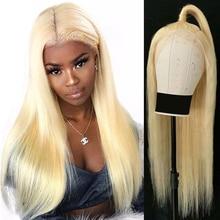 150% Dichtheid 13X4 Blonde Lace Front Menselijk Haar Pruiken Met Transparant Kant Pre Geplukt Straight Braziliaanse Remy 613 lace Front Pruik