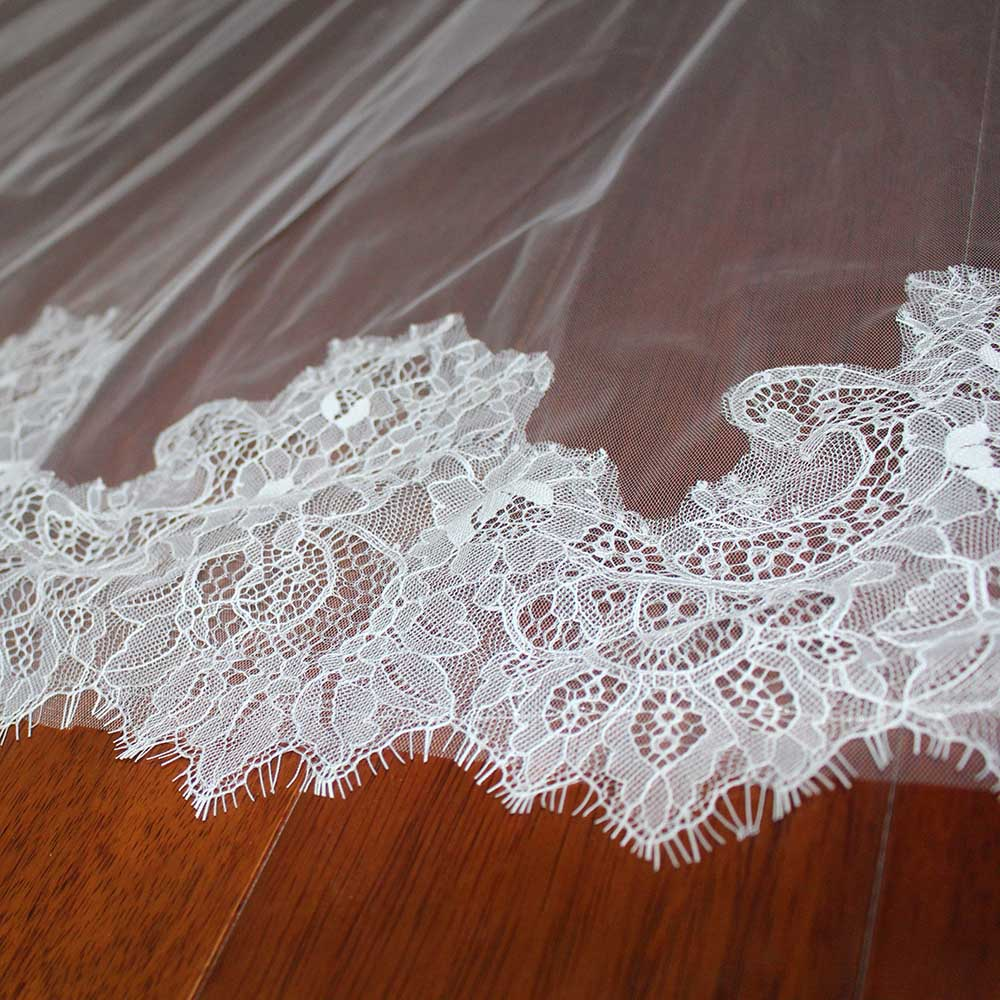 Elegant Long Wedding Veil With Eyelash Lace High Quality Soft Cathedral Bridal Veil With Wedding Veil 3 Meters Ivory Veil