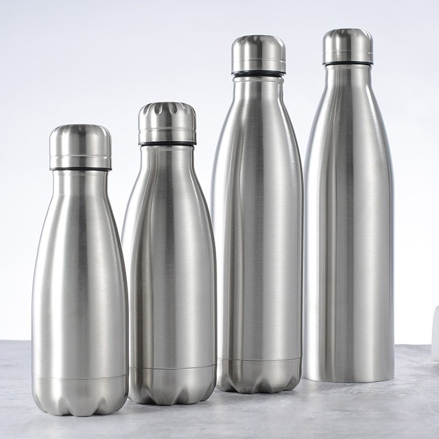 1000ml Sports Stainless Steel Water Bottle Single Wall Hot Cold Water Cola Bottle Insulated Vacuum Flask for Kids School 1