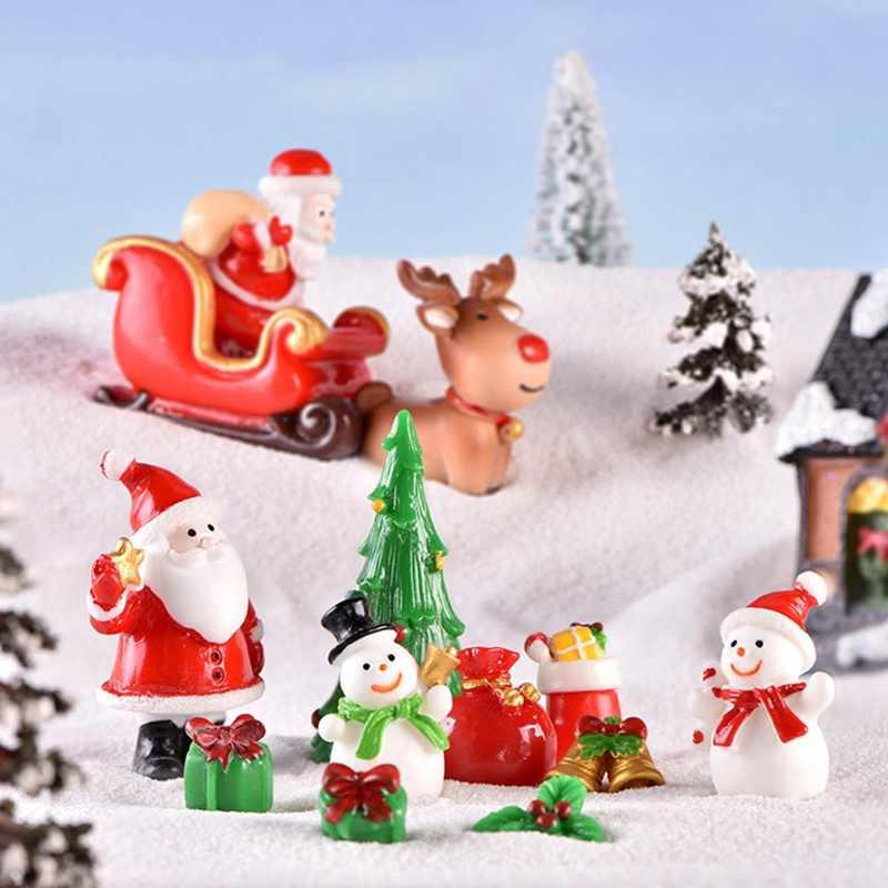 1 個クリスマスサンタサンタクロースそりマイクロ風景雪のシーンの装飾置物工芸クリスマスギフト