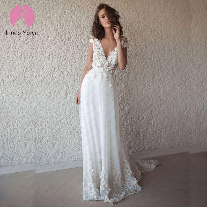 <font><b>Boho</b></font> <font><b>Wedding</b></font> <font><b>Dress</b></font> <font><b>2019</b></font> <font><b>Sexy</b></font> V Neck <font><b>Backless</b></font> Lace <font><b>Wedding</b></font> Gowns Custom Made Beach Bride <font><b>Dress</b></font> Cheap Vestido De Noiva image