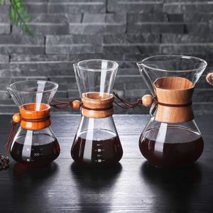 Classic Glass Coffee Pot Hario V60 Dripper with Wooden Handle Pour Over Coffee Maker Espresso Coffe Drip Kettle Barista Tools(China)