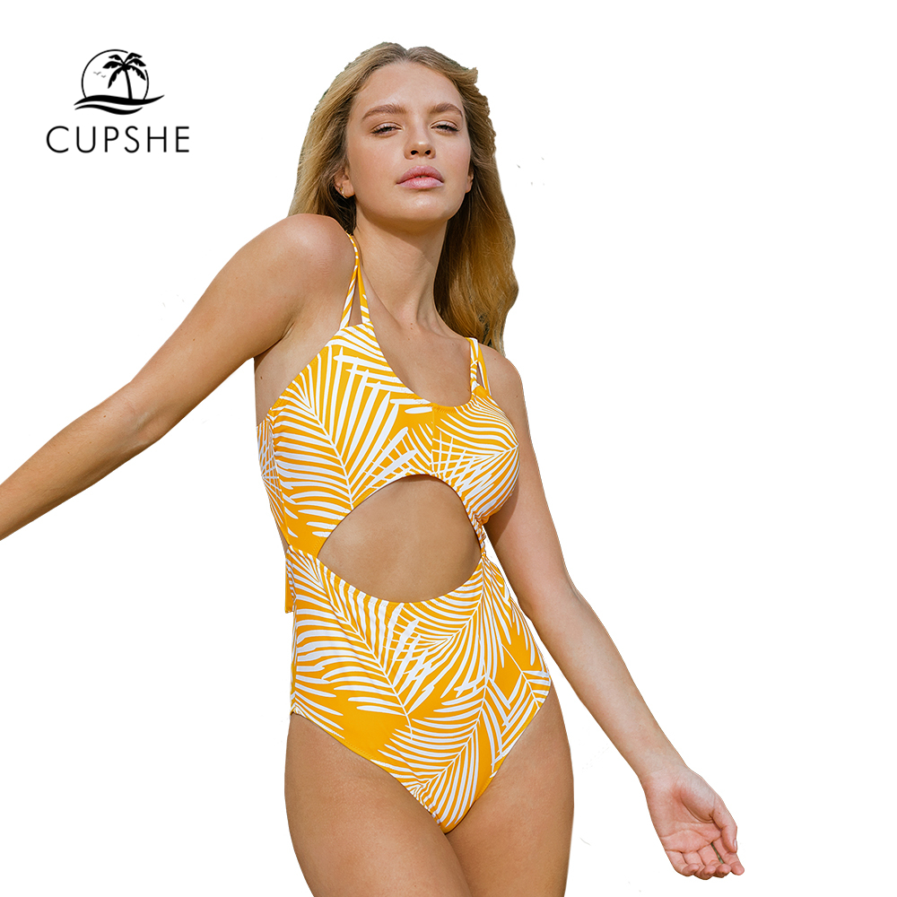 Image 4 - CUPSHE Yellow Leaf Print Cut Out One Piece Swimsuit Sexy Lace Up Padded Women Monokini 2020 Girl Beach Bathing Suit SwimwearBody Suits   -