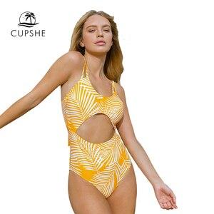 Image 4 - CUPSHE צהוב עלה הדפסת לגזור בגד ים מקשה אחת סקסי תחרה עד מרופד נשים Monokini 2020 ילדה חוף רחצה חליפת בגדי ים
