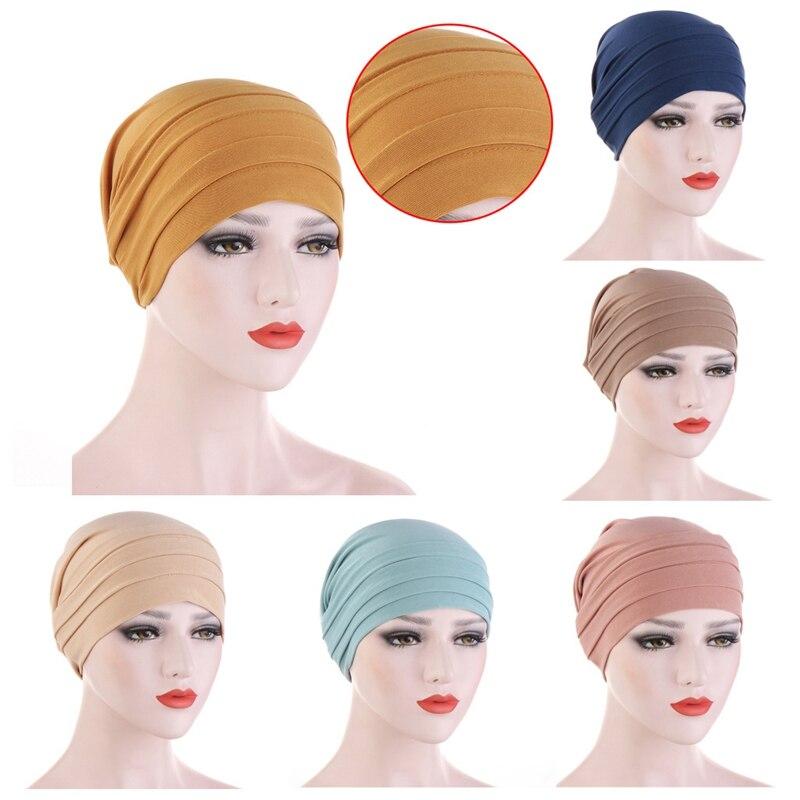 2020 novo algodão elástico turbante chapéu de cor pura feminino quente inverno headscarf bonnet hijabs interno boné muçulmano hijab femme envoltório cabeça
