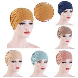 2020 New Elastic Cotton Turban Hat Pure Color Women Warm Winter Headscarf Bonnet Inner Hijabs Cap Muslim Hijab femme Wrap Head