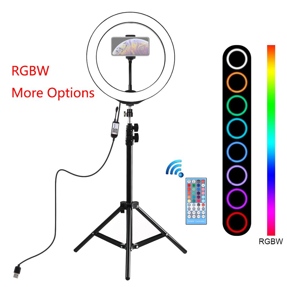 10 inch 26cm RGBW LED Selfie Ring Light Video Tripod Stand Live Broadcast Kits with Remote Control Youtube Instagram Vlogging image