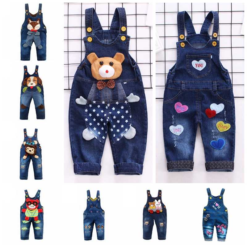 1-3T Baby Denim Overalls Toddler Jeans Cute Animals Long Pants Cartoon Kwaii Bib Jumpsuit Rompers Kids Clothing Bebe Clothes