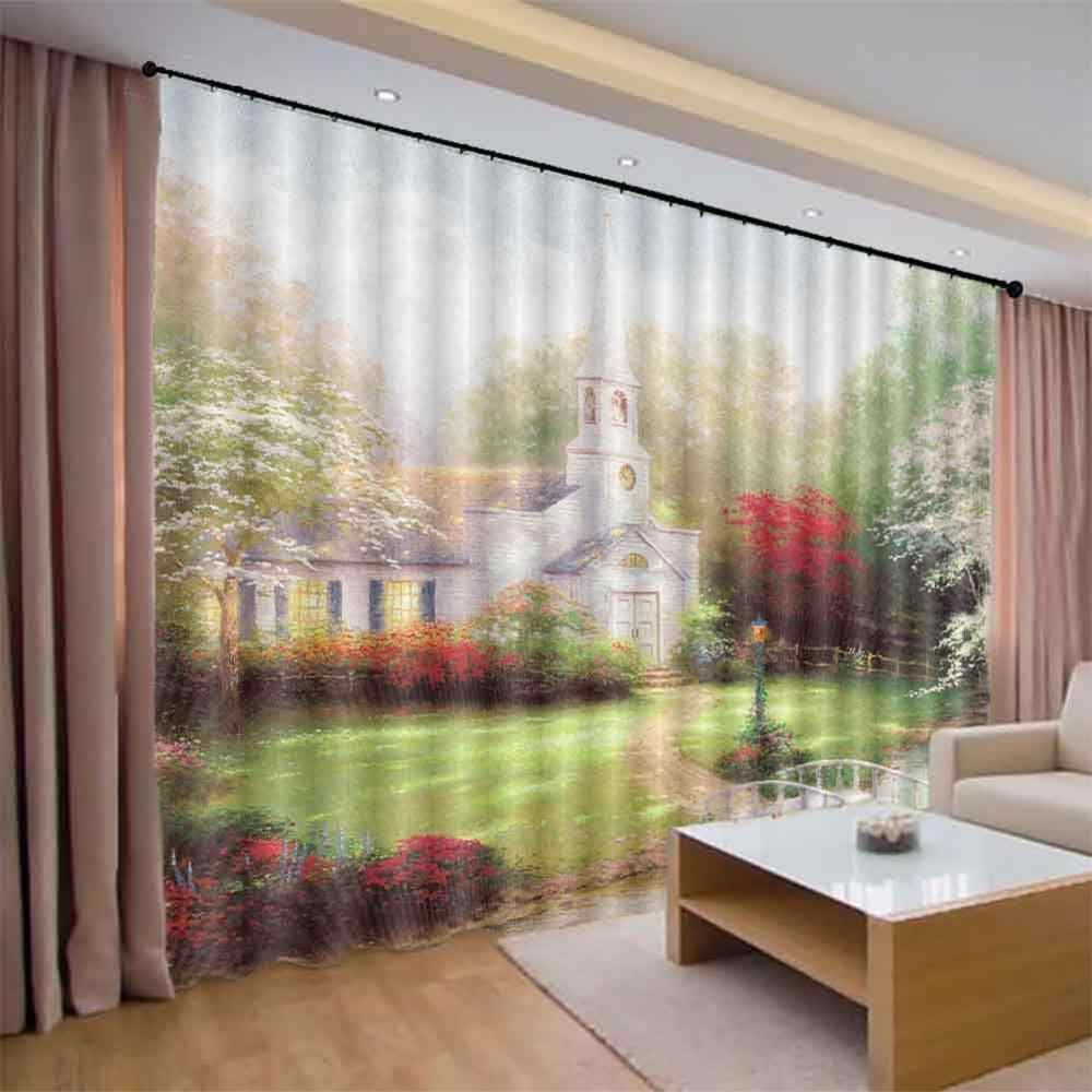 Cortinas European Architectural Landscape Simple Curtain Design For Living Room Bedrooms Modern 3d Blackout Window Cortina Aliexpress