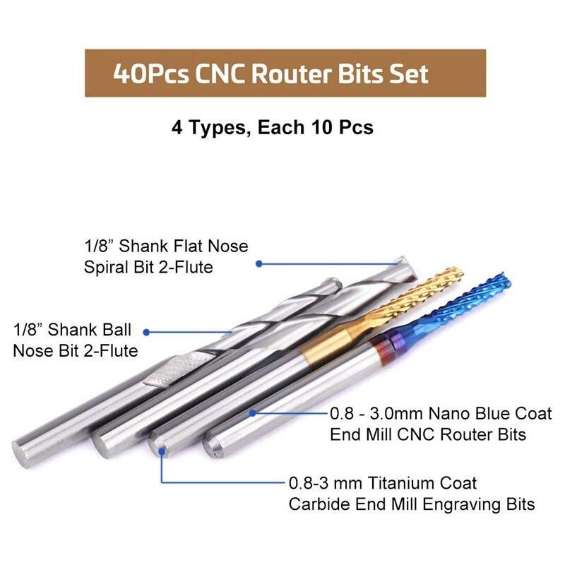 "40 Bit Kit 1//8/"" Flat Nose//Ball Nose End Mill Nano//Titanium Coat CNC Router Bits"