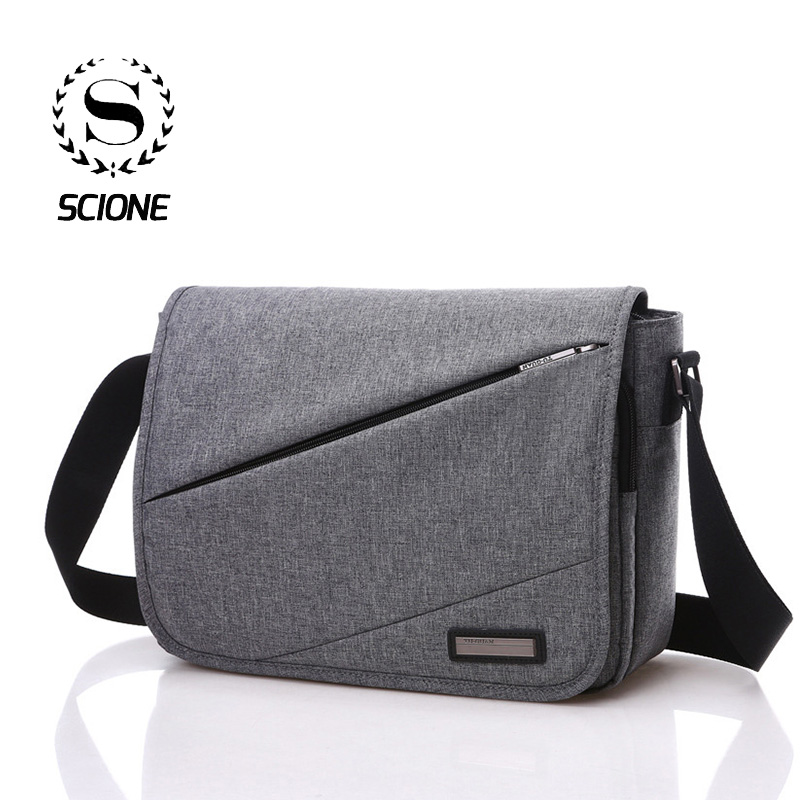 Scione New Korean Solid Office Shoulder Bags For Men Simple Fashion Student School Crossbody Bags Travel Messenger Briefcase