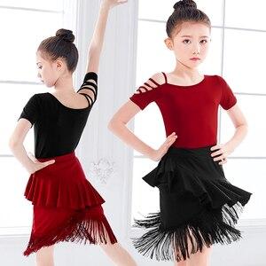 Image 2 - Shoulder Out Latin Dance Fringe Dresses Women Performance Black Red Tango Cha Cha kids Dress for Girls