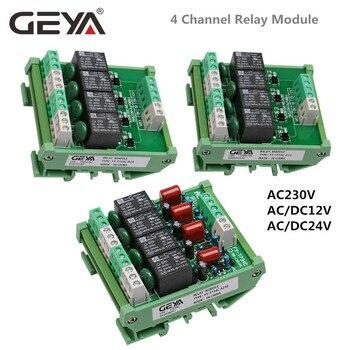 цена на GEYA 4 Channel Relay Module 1 SPDT DIN Rail Mount 12V 24V DC/AC Interface Relay Module 230VAC