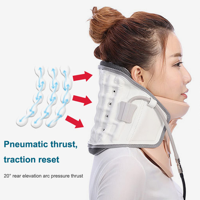 KLASVSA Inflatable Cervical Neck Traction Massager Therapy Device Adjustable Neck Stretcher Collar Spine Health Care Relaxation 5
