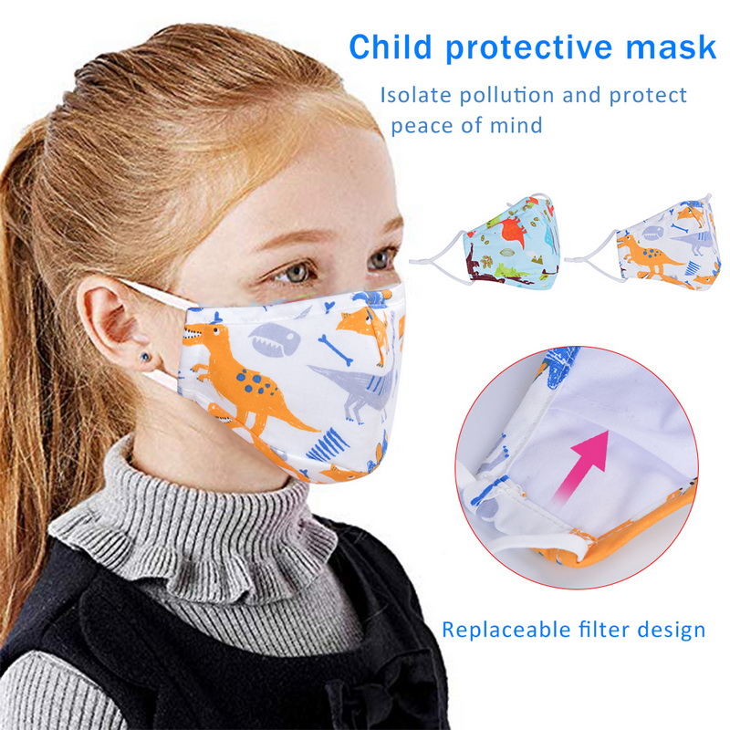 1Pcs PM2.5 Children Mask Cartoon Dinosaur Printing Cotton Washable Reusable Anti Fog Dust Mask Fits 2-10 Years Old Kids