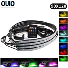 90*120cm Multi-color Wireless Remote Control Music Voice Control Atmosphere Lamp Vehicle Chassis Car Lights 12V Decorative Light newest car rgb lights decorative atmosphere lights wireless remote music voice control car interior light
