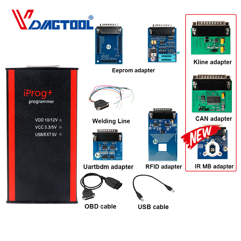 Iprog+ Iprog Pro V80 Key Programmer Support IMMO Mileage Correction Airbag Reset Till Year 2019 Replace Carprog/Full/Digiprog