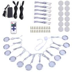 Aiboo led linkable sob a iluminação do armário pode ser escurecido 6/10/12 puck luzes com controle remoto sem fio rf hardwired & plugue de parede dentro