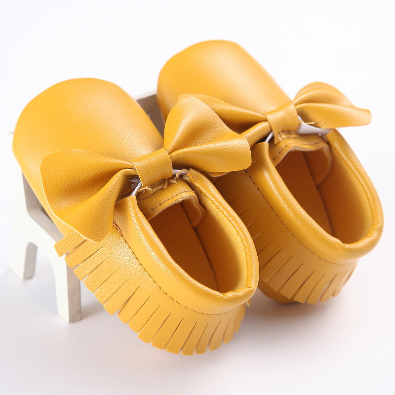 Baby Girl Shoes Casual Soft Baby Moccasins PU Leather Shoes Bottom Fashion Bow Baby Toddler Baby Shoes