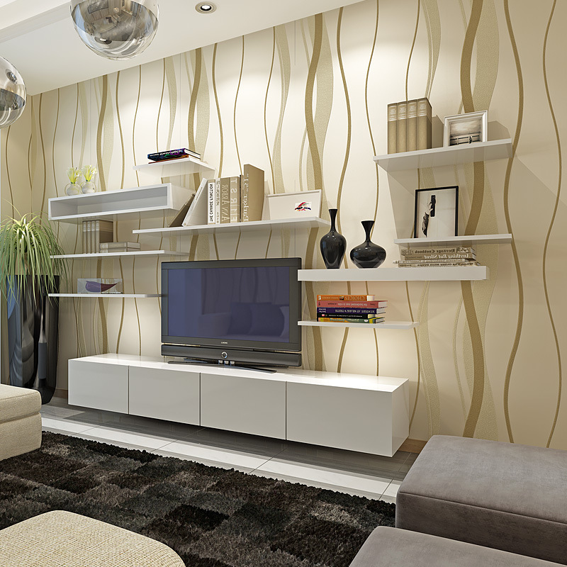 Modern Minimalist Wave Pattern Non-woven Wallpaper Coining Stripes Waistline Lines Bedroom Living Room Wall Wallpaper