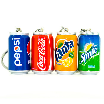 Simulation Creative Drinks Key chain Cola Fanta Can keychains Accessories Men and Women Car Bags Pendant Key Ring Accessories image