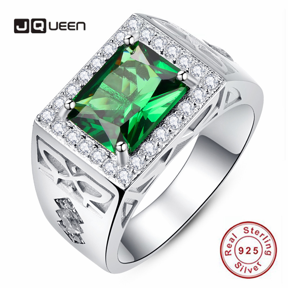 JQUEEN 925 Sterling Silver Men's Rings Square Green Zircon Pave Diamonds Men's Ring Emerald White Cubic Zirconia Wedding Ring