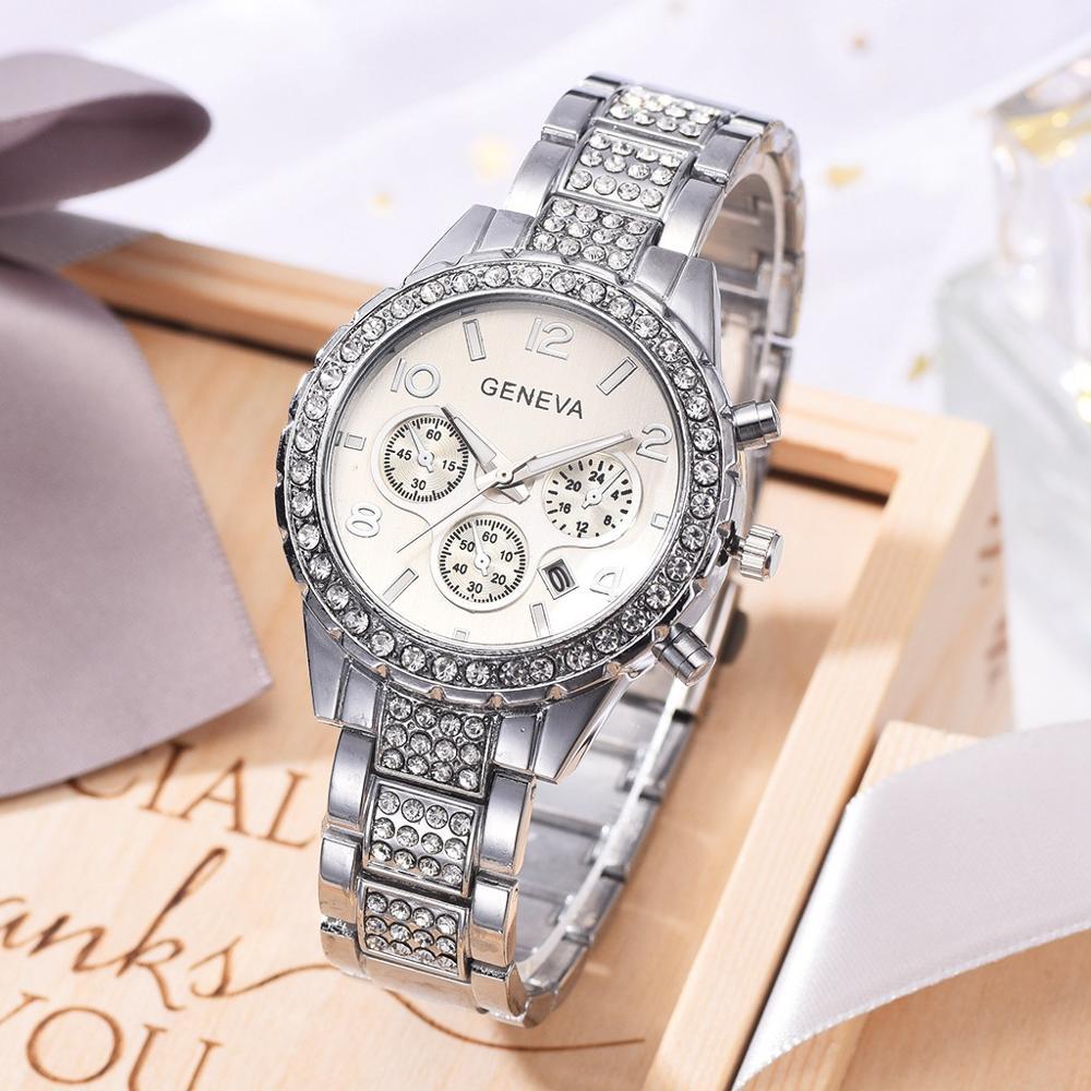 GENEVA Watch Women Luxury Diamond Ladies Dress Quartz Wristwatches For Women Silver Steel Belt Waterproof Date Clock reloj mujer