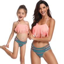 Mother And Daughter Swimsuit 2020 Family Look Mommy and Me Clothes Bikini Tassel Mom Swimwear Matching