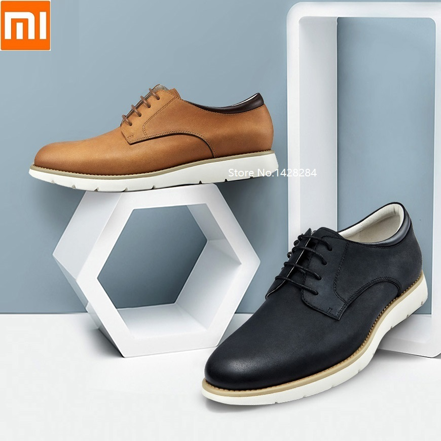 Xiaomi Devil Men Lightweight Business Leather Shoes Slow Shock Wear Resistant Luxury Casual Shoes Scrub Cowhide Breathable Slip