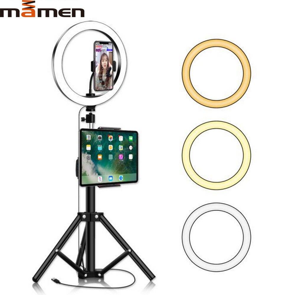 MAMNE 10 дюймов кольцевой светильник светодиодный с регулируемой яркостью видео студия селфи фотография светильник ing на Youtube прямая трансляция для iPad со штативом|Фотографическое освещение|   | АлиЭкспресс