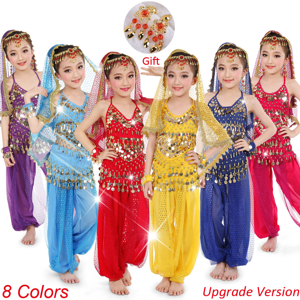 Belly-Dance-Costumes-Set Bollywood Egypt India Girls Kids 8-Color title=
