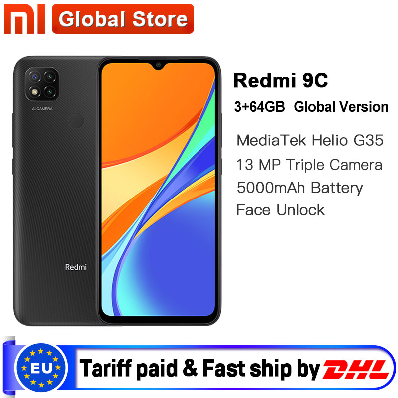 "Global Version Xiaomi Redmi 9C Mobile Phone 9C 3GB RAM 64GB ROM MediaTek Helio G35 6.53"" 5000mAh 13MP Camera Smartphone|Cellphones| - AliExpress"
