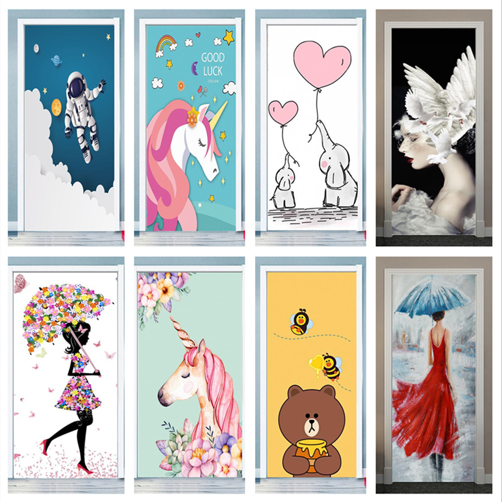 Cartoon Cute Door stickers Anime Girls Wall Stickers for Kids Room Living Room Decorative Stickers Wall Decals Home Decor PVC