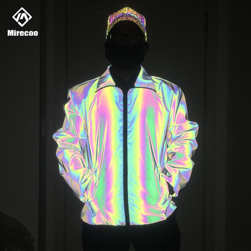 Rainbow Reflective Jacket Mens Turn Down Collar Biker Jacket Men Hip Hop Jackets Fashion Streetwear Clothes Jogging Windbreaker